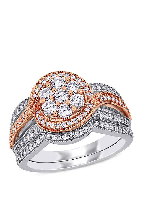 1.0 ct. t.w. Diamond Bridal Set in 14k White and Rose Gold