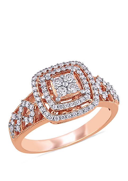 1/2 ct. t.w. Diamond Cluster Halo Engagement Ring in 14k Rose Gold