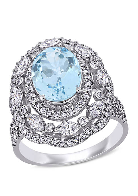2.45 ct. t.w. Aquamarine and 1.16 ct. t.w. Marquise and Round Diamond Ring in 14k White Gold