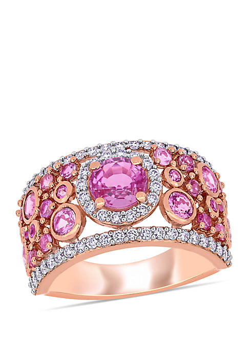 2.6 ct. t.w. Pink Sapphire and 1/2 ct. t.w. Diamond Halo Cuff Ring in 14k Rose Gold