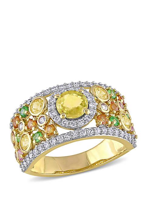 2.37 ct. t.w. Yellow Orange, Pink Sapphire, 1/4 ct. t.w. Tsavorite and 1/2 ct. t.w. Diamond Halo Cuff Ring in 14k Yellow Gold
