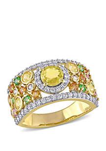 Belk & Co. 2.37 ct. t.w. Yellow Orange, Pink Sapphire, 1/4 ct. t.w. Tsavorite and 1/2 ct. t.w. Diamond Halo Cuff Ring in 14k Yellow Gold