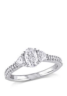 Belk & Co. 1.1 ct. t.w. Oval and Heart Shaped Diamond Engagement Ring in 14k White Gold