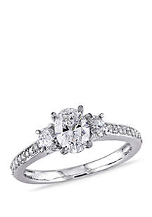 Belk & Co. 1.1 ct. t.w.Oval Cut and Round Diamond 3 Stone Engagement Ring in 14k White Gold
