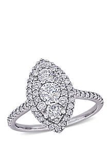 Belk & Co. 1 ct. t.w. Diamond Marquise Shape Composite Engagement Ring in 10k White Gold