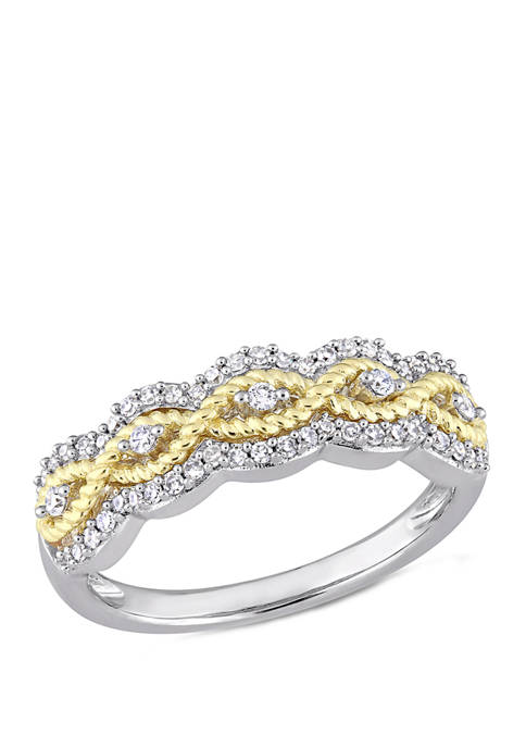 1/4 ct. t.w. Diamond Braided Ring in 2 Tone 10k Yellow and White Gold