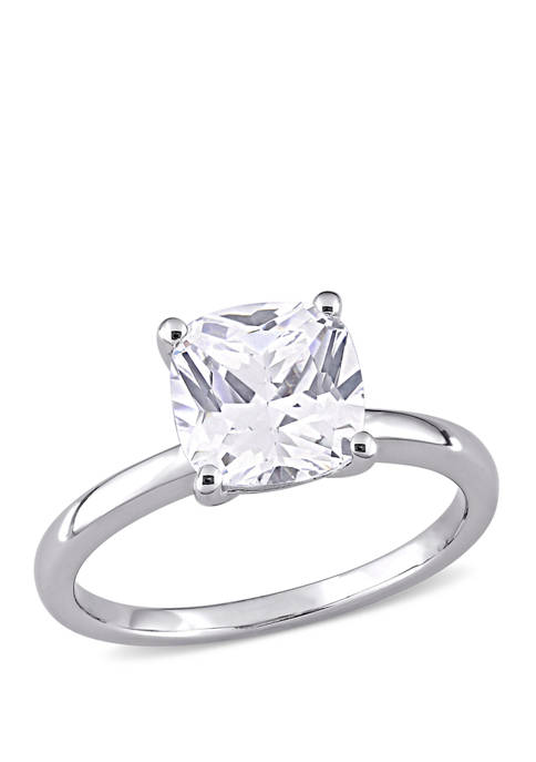 2.88 ct. t.w. Cushion Cut Created White Sapphire Solitaire Ring in 10k White Gold