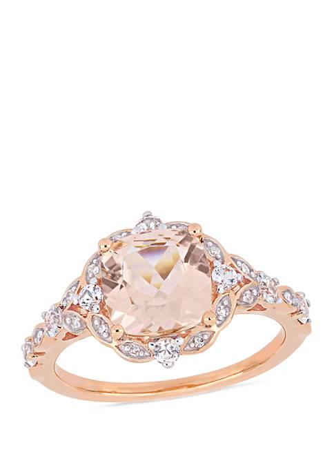 2 ct. t.w. Morganite, 2/5 ct. t.w. White Sapphire, 1/10 ct. t.w. Diamond Accent Vintage Ring