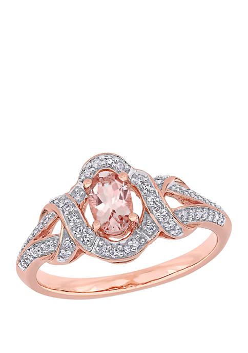 1.14 ct. t.w. Morganite, 1/10 ct. t.w. Diamond Interlaced Halo Ring