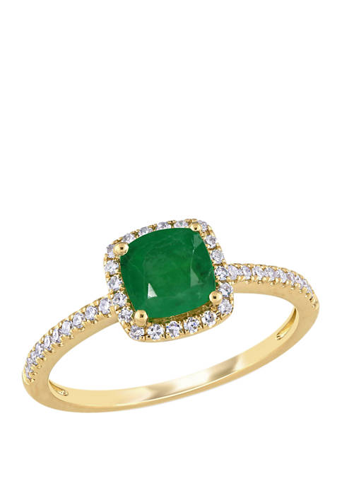 4/5 ct. t.w. Emerald and 1/5 ct. t.w. Diamond Halo Ring in 14k Yellow Gold