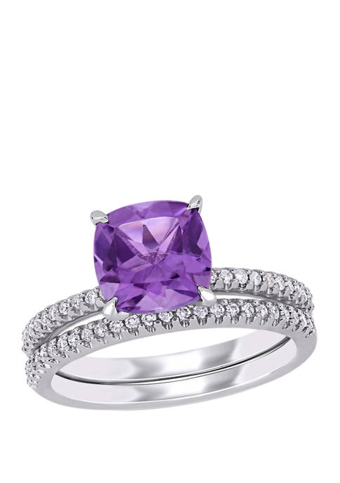 2 Piece 1.75 ct. t.w. Amethyst and 1/4 ct. t.w. Diamond Bridal Set in 14k White Gold