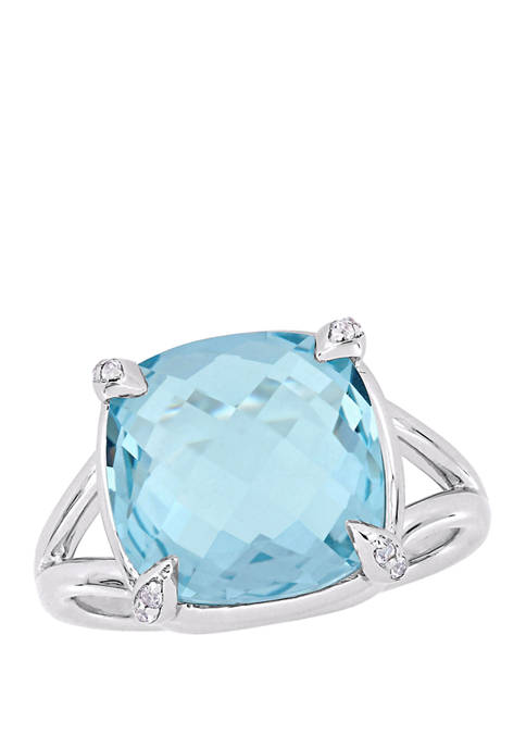 9 ct. t.w. Blue Topaz and White Topaz Split Shank Cocktail Ring in Sterling Silver