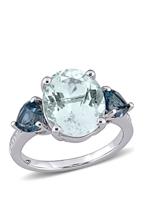 4.2 ct. t.w. Ice Aquamarine, 1 ct. t.w. London-Blue Topaz, and 1/10 ct. t.w. Diamond Accent 3-Stone Ring In Sterling Silver