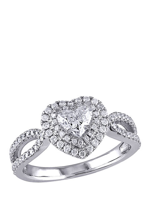 1 ct. t.w. Diamond Double Halo Heart Engagement Ring