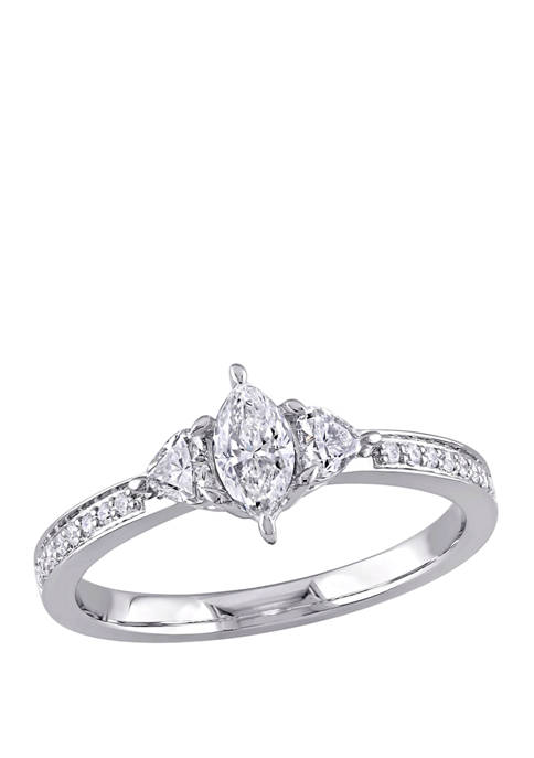 5/8 ct. t.w. Diamond Marquise Cut 3 Stone Engagement Ring