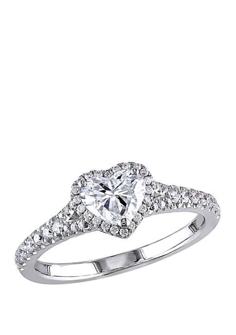 1 ct. t.w. Diamond Halo Heart Engagement Ring