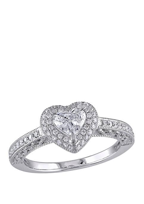 3/4 ct. t.w. Diamond Halo Heart Engagement Ring