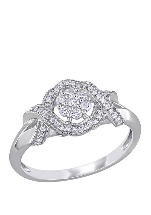 1/3 ct. t.w. Diamond Twist Floral Engagement Ring