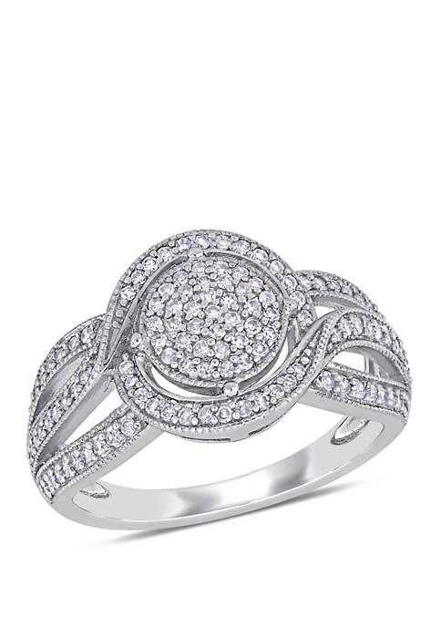 1/2 ct. t.w. Diamond Swirl Halo Triple Row Engagement Ring