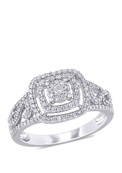 1/2 ct. t.w. Diamond Filigree Double Halo Engagement Ring