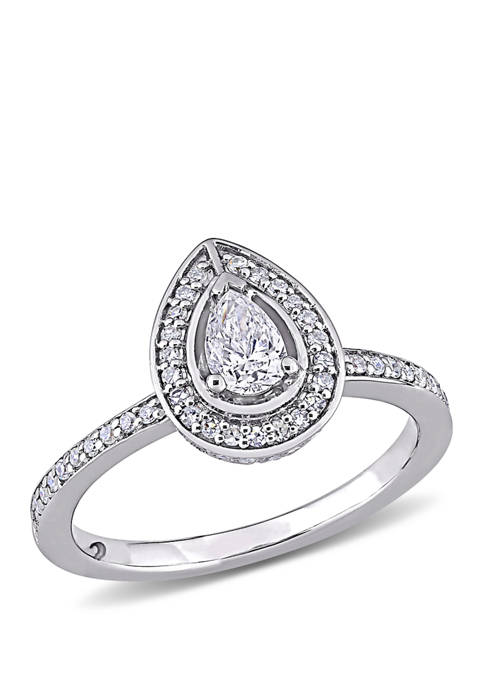 5/8 ct. t.w. Diamond Pear Cut Halo Engagement Ring in 14k White Gold