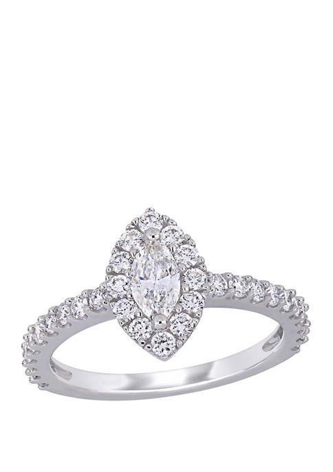 1 ct. t.w. Diamond Marquise Halo Engagement Ring in 14k White Gold