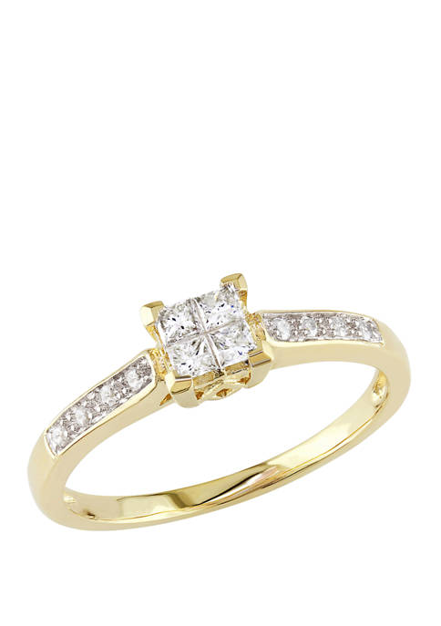 1/4 ct. t.w. Diamond Princess Cut Quad Engagement Ring in 10k Yellow Gold