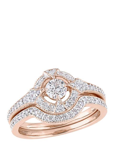 2 Piece 3/4 ct. t.w. Diamond Openwork Bridal Set in 10k Rose Gold