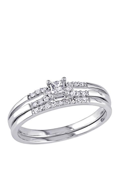 2 Piece 1/5 ct. t.w. Diamond Princess Cut Split Shank Bridal Set in 10k White Gold