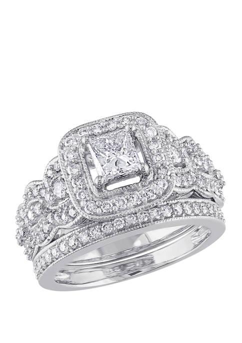 2 Piece 1.25 ct. t.w. Diamond Princess Cut Halo Bridal Set in 14k White Gold
