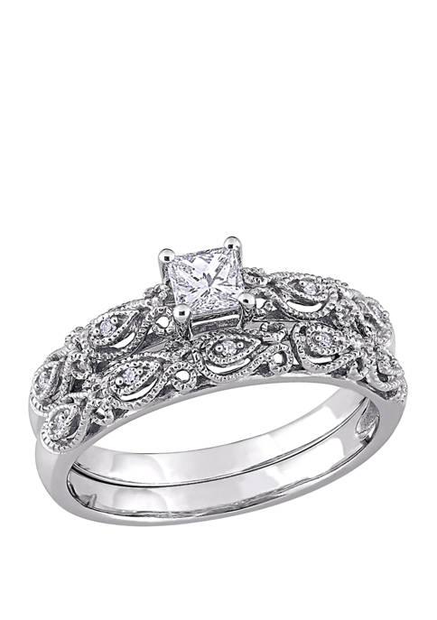1/3 ct. t.w. Diamond Princess Cut Vintage Bridal Set