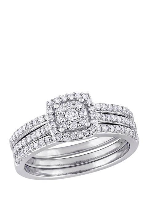 3 Piece 1/2 ct. t.w. Diamond Cluster Halo Bridal Set in 14k White Gold