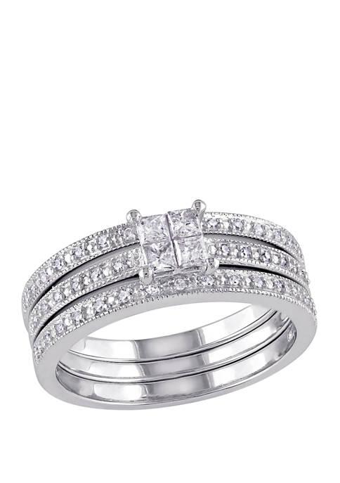 3/8 ct. t.w. Diamond Princess Cut Quad 3 Piece Bridal Set