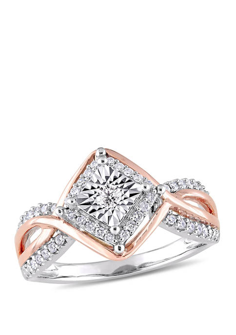 Diamond Vintage Infinity Ring in Two-Tone Gold