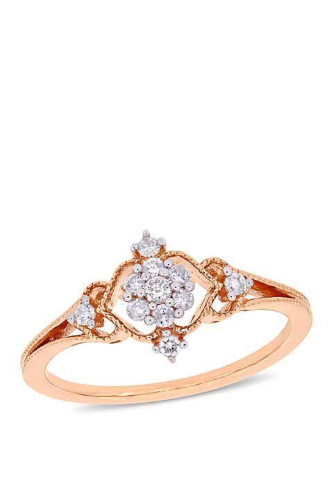 Diamond Cluster Vintage Ring in 10K Rose Gold