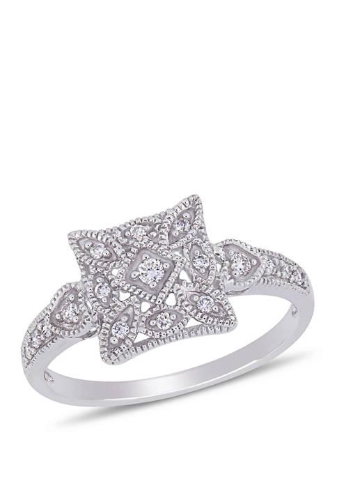 Diamond Vintage Ring in 10K White Gold
