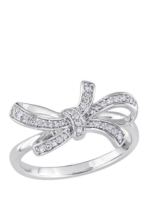 Diamond Bow Ring in 10K White Gold