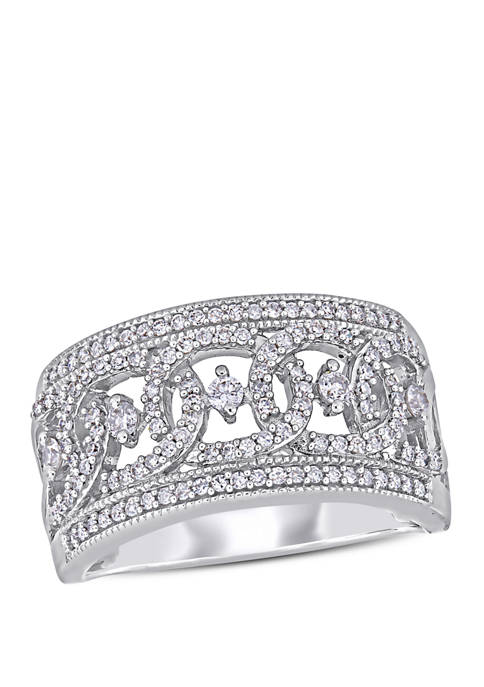 Diamond Wide Interlaced Anniversary Ring in 10K White Gold