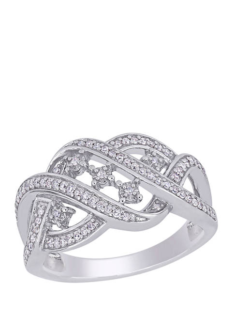 Belk & Co. Diamond Crossover Ring in Sterling