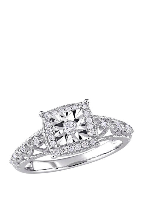 Diamond Square Halo Vintage Promise Ring in Sterling Silver