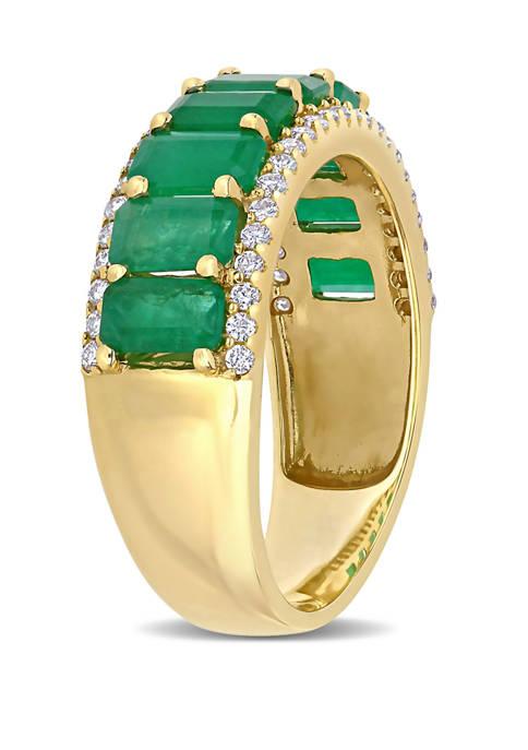 Emerald and Diamond Semi Eternity Ring