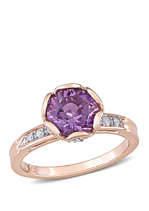 Belk & Co. Amethyst and Diamond Floral Ring