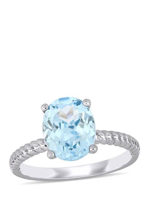 Aquamarine Twist Ring