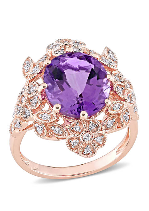 Amethyst and Diamond Vintage Cocktail Ring