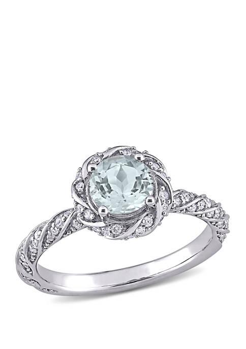 Belk & Co. Aquamarine and Diamond Halo Ring
