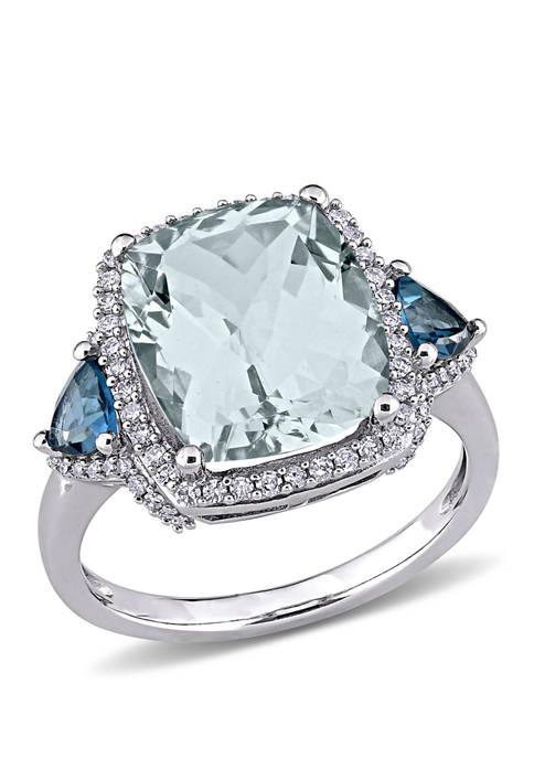 5 ct. t.w. Aquamarine, 3/5 ct. t.w. Blue Topaz, and 1/3 ct. t.w.  Diamond 3 Stone Halo Ring