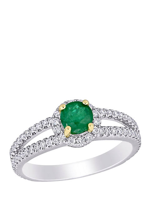 Belk & Co. Emerald and Diamond Halo Split