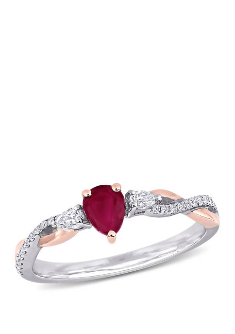 2/5 ct. t.w. Ruby and 1/5 ct. t.w. Diamond 3 Stone Promise Ring in 14K White and Rose Gold