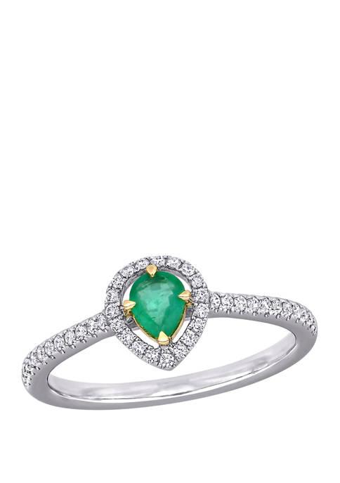 Belk & Co. Emerald and Diamond Halo Ring