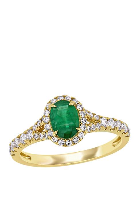 Emerald and Diamond Halo Split Shank Ring